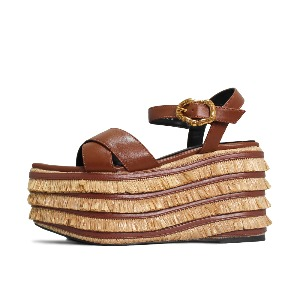 STRAW BUCKLE SANDALS NUH4576BR